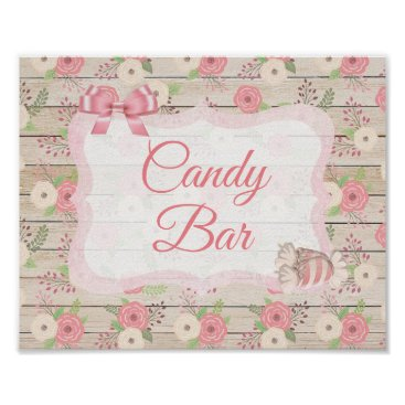 Wedding Themed Candy Bar Sign Pink Rustic Wood Floral Poster