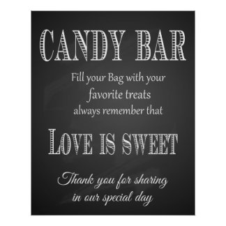 Candy Bar wedding print  chalkboard - blackboard