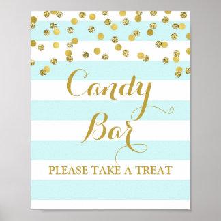 Candy Bar Wedding Sign Blue Stripe Gold Confetti Poster