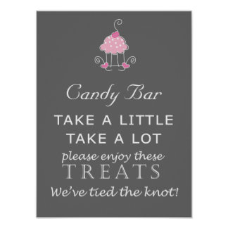 Candy Bar Wedding sign - cake design Poster