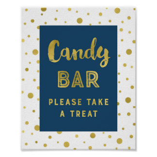 Candy Bar Wedding Sign Navy Blue Gold Stripes Poster