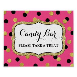 Candy Bar Wedding Sign Pink Black Gold Confetti