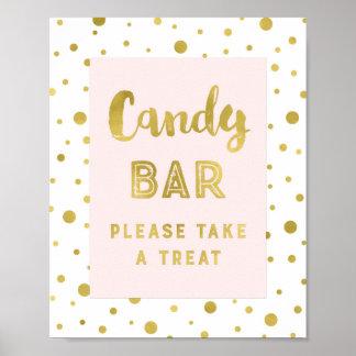 Candy Bar Wedding Sign Pink Gold Stripes Poster