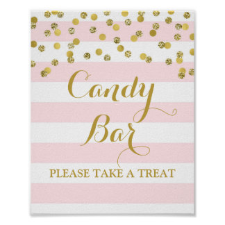 Candy Bar Wedding Sign Pink Stripes Gold Confetti Poster