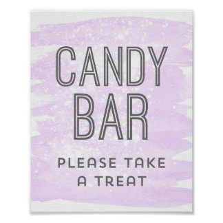 Candy Bar Wedding Sign Purple Watercolor Poster
