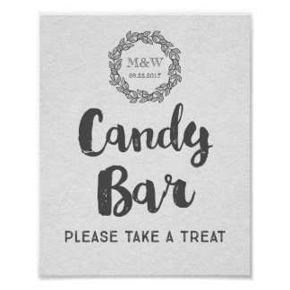 Candy Bar Wedding Sign Watercolor Paper Wreath Poster