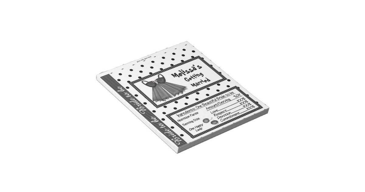 Candy Bar Wrapper Bridal Shower Party Favors Notepad