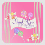 Candy Bat Mitzvah Favor Thank You Dark Pink Square Sticker