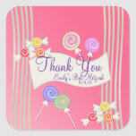 Candy Bat Mitzvah Favor Thank You Watermelon Pink Square Sticker