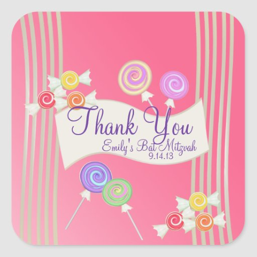 Candy Bat Mitzvah Favor Thank You Watermelon Pink Stickers