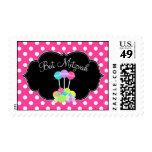 Candy Bat Mitzvah Pink Polka Dot Postage Stamp
