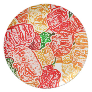 candy bears abstract sketch food sweet snack melamine plate
