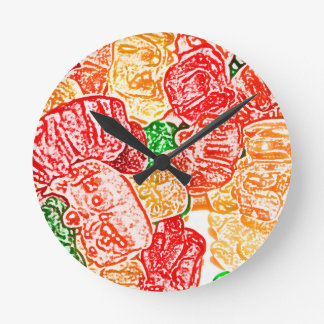 candy bears abstract sketch food sweet snack round clocks