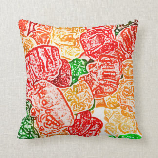 candy bears abstract sketch food sweet snack throw pillow