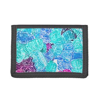 candy bears blue sketch food sweet edible tri-fold wallet