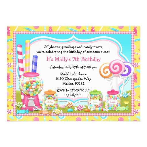pictures of candy party invitations www