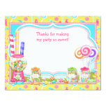 Candy Birthday Party Thank You Card