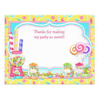 Candy Birthday Party Thank You Card Invite