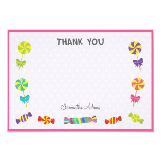 Candy Birthday Thank You Card (Pink)