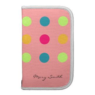 Candy Blue Polka Dot Custom Name Pink Organizer