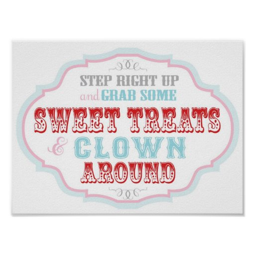 Candy Booth Sign for Carnival Circus Birthday Poster