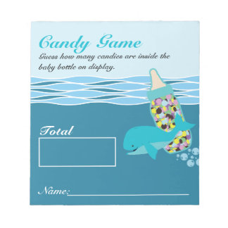Candy Bottle Guessing Game, M&M, Whale Baby Shower Note Pad