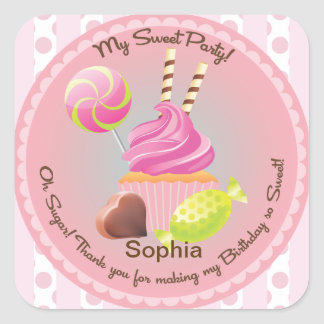Candy Buffet Girl's Party Favor Birthday Sticker