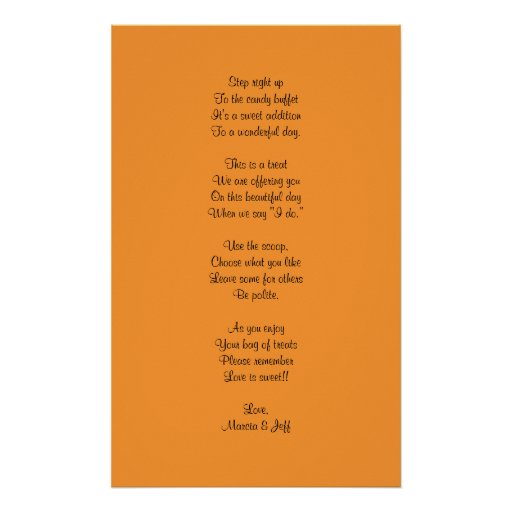 Candy buffet poem posters | Zazzle