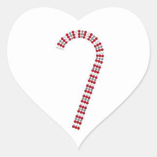 Candy Cane 2 Heart Sticker
