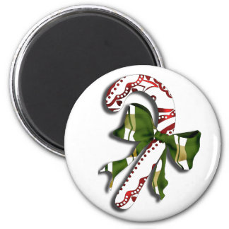 Candy Cane 2 Inch Round Magnet