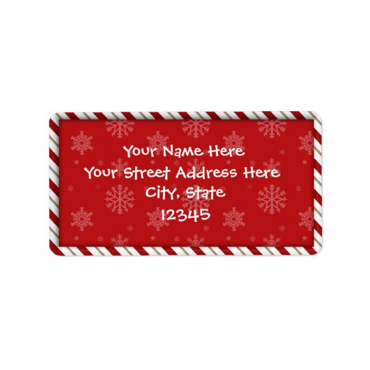 Candy Cane Address Labels