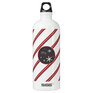 Candy Cane and Chalkboard Christmas Water Bottle