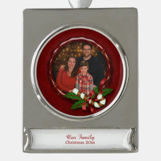 Candy Cane and Christmas Greenery Personalized Silver Plated Banner Ornament