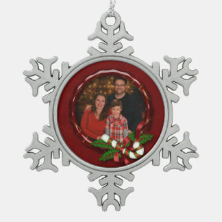 Candy Cane and Damask Photo Ornament