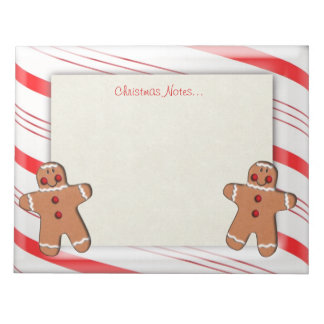 Candy Cane and Gingerbread Man Cookies Memo Notepad
