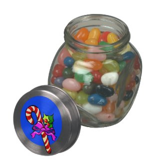 Candy Cane and Holly Jelly Belly Candy Jar