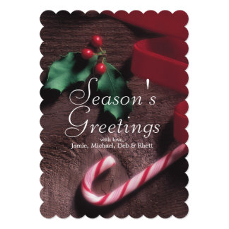Candy cane and holly leaves 5x7 paper invitation card