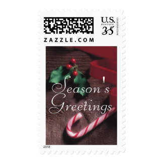 Candy cane and holly leaves postage stamp