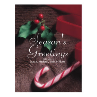 Candy cane and holly leaves postcard