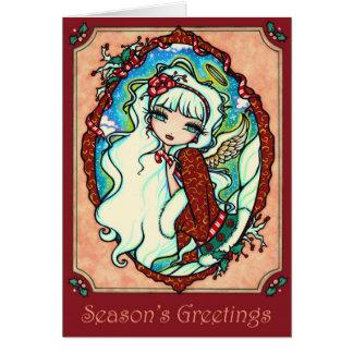 Candy Cane Angel Christmas Card