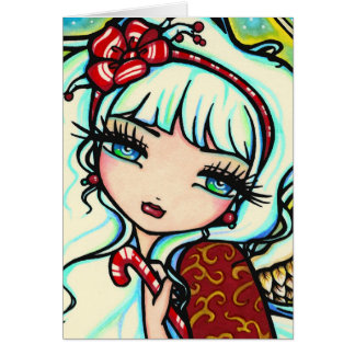 Candy Cane Angel Close Up Christmas Card