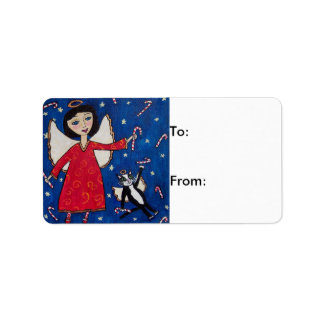Candy Cane Angels Christmas Gift Tag Personalized Address Label