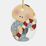 candy cane baby boy 2 christmas tree ornament
