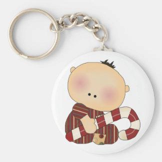candy cane baby boy 3 basic round button keychain
