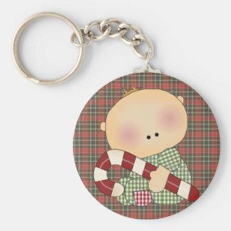 candy cane baby boy 4 basic round button keychain
