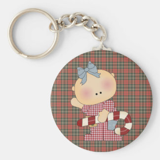 candy cane baby girl 2 basic round button keychain