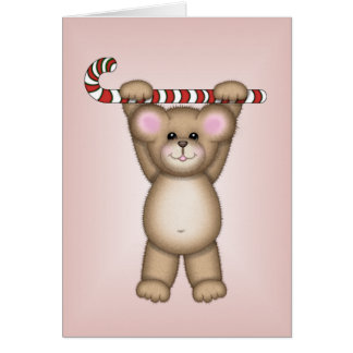 Candy Cane Bear Greeting Cards
