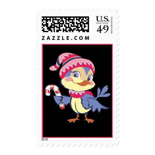 Candy Cane Bird Stamp