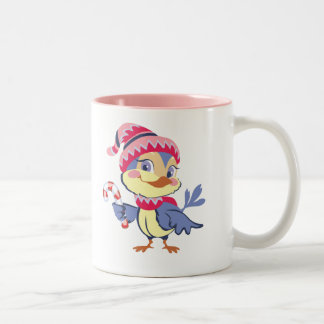 Candy Cane Bird Two-Tone Coffee Mug