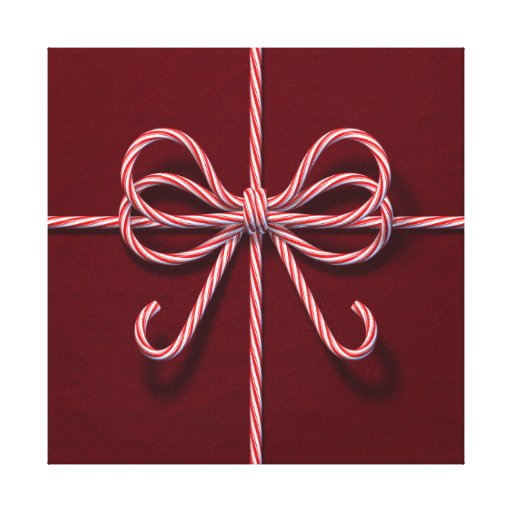 Candy Cane Bow Canvas Stretched Canvas Print